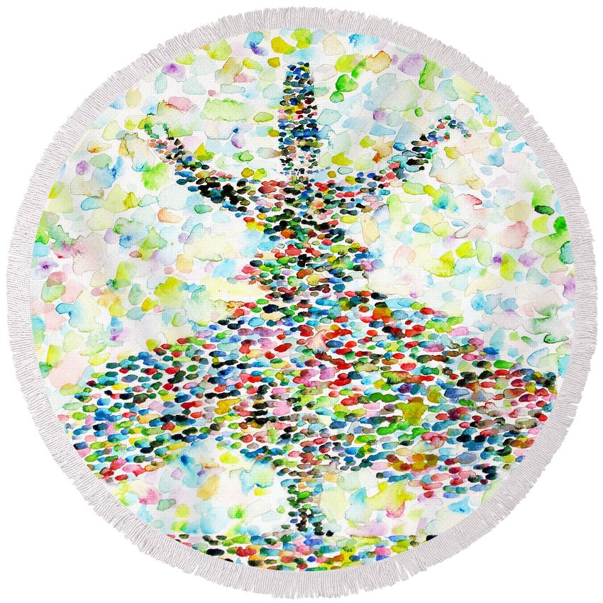 Sufi Round Beach Towel featuring the painting The Whirling Sufi by Fabrizio Cassetta