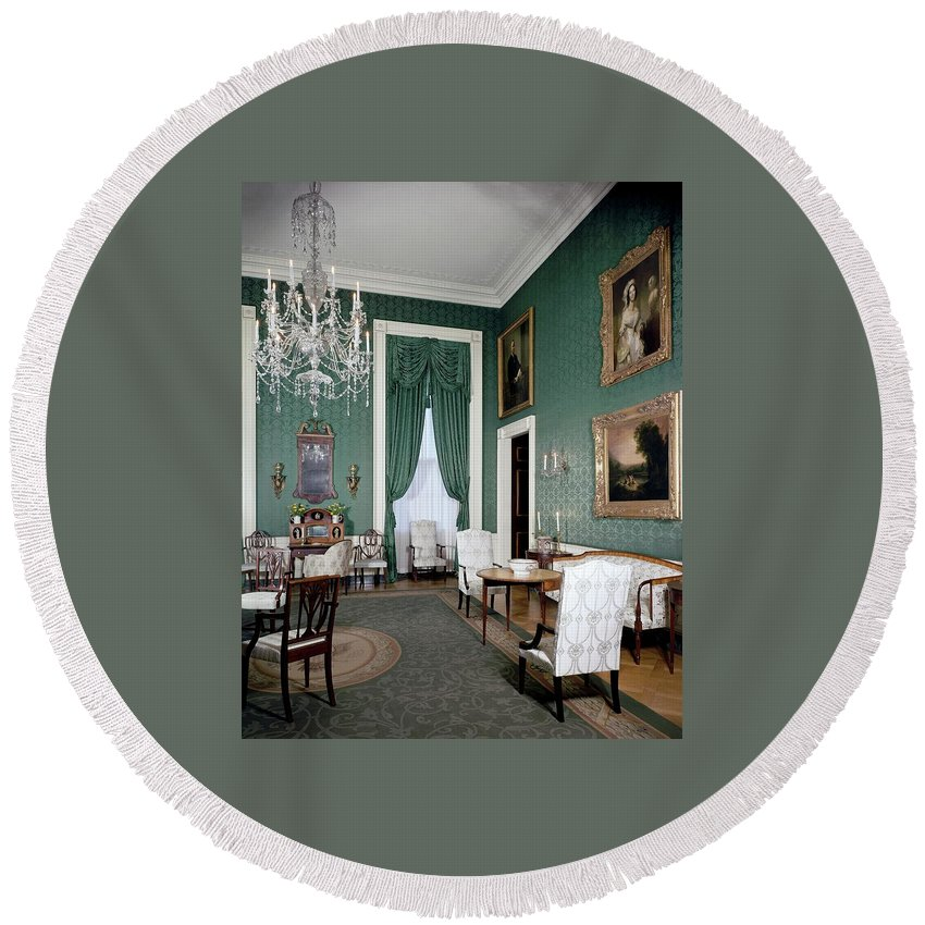 Antique Round Beach Towel featuring the photograph The White House Green Room by Tom Leonard