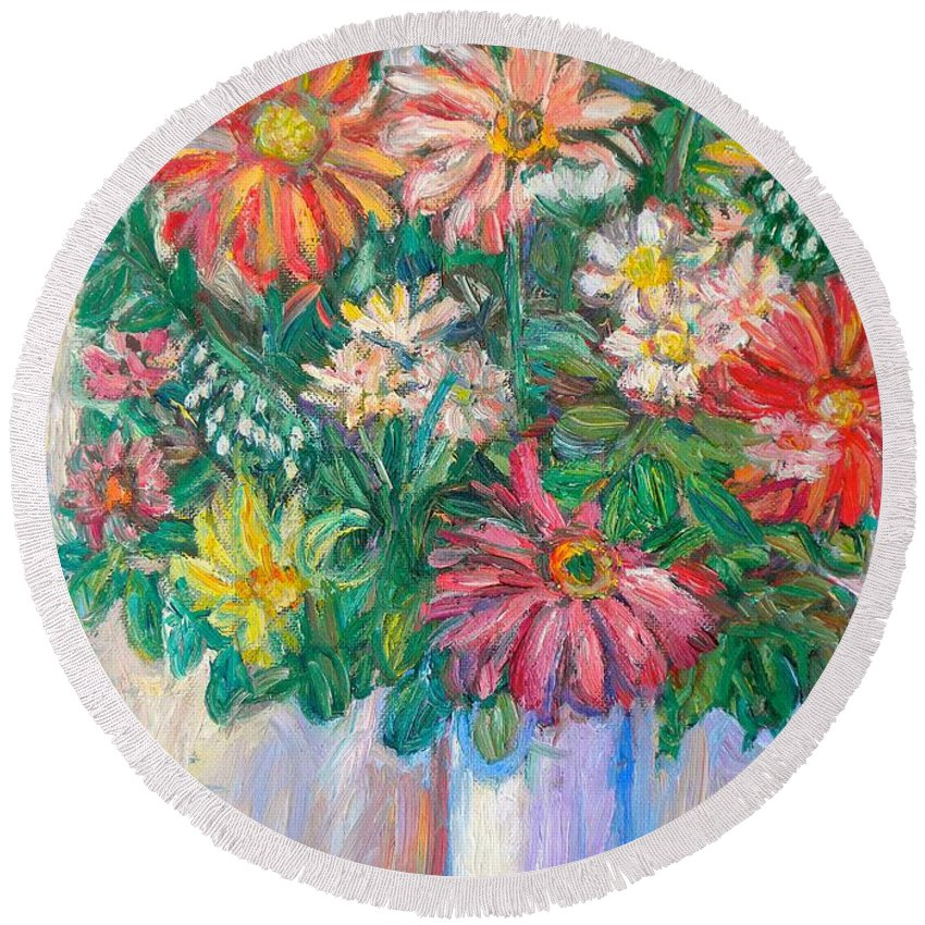 Still Life Round Beach Towel featuring the painting The White Vase by Kendall Kessler