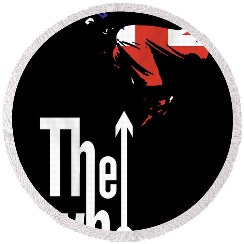 The Who Round Beach Towel featuring the digital art The Who No.01 by Geek N Rock