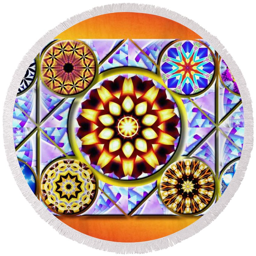Sacredlife Mandalas Round Beach Towel featuring the drawing The Whole Of One by Derek Gedney