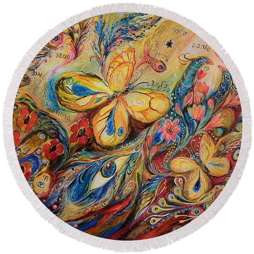 Original Round Beach Towel featuring the painting The Wind by Elena Kotliarker
