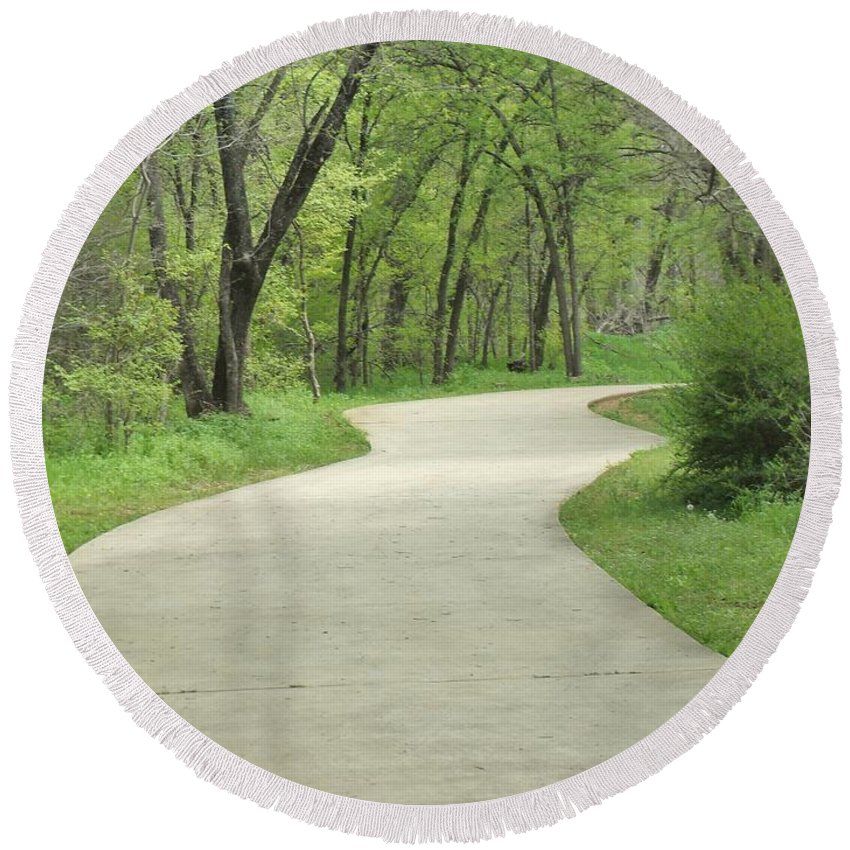 Winding Path Round Beach Towel featuring the photograph My Winding Way by Donna Wilson