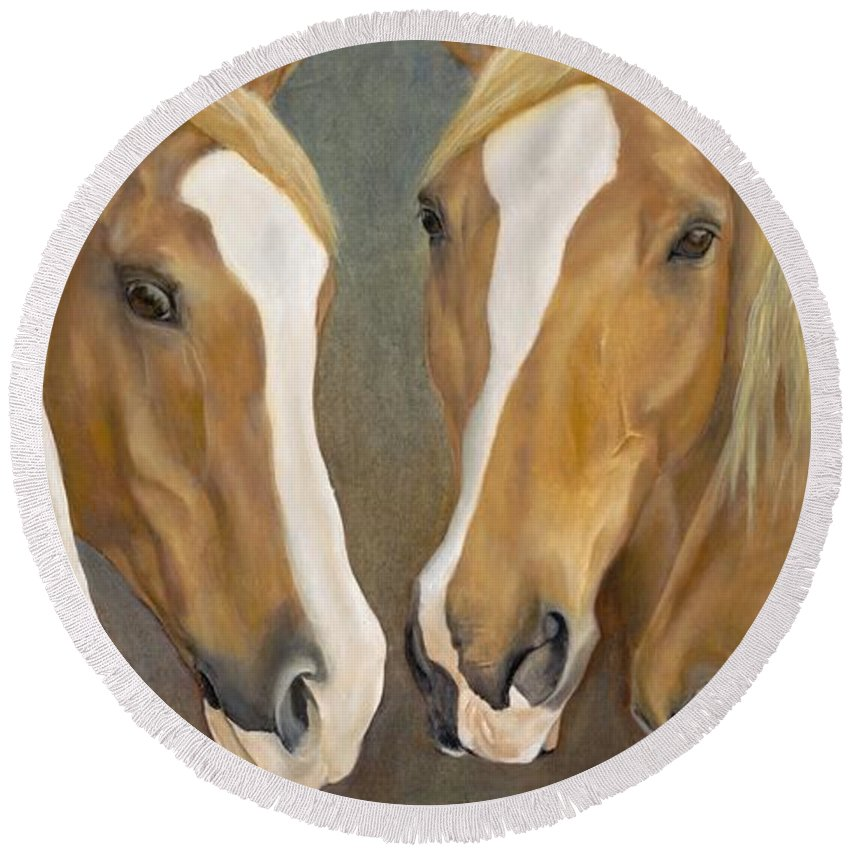 Horse Round Beach Towel featuring the painting The Winkle Guys by Catherine Davis