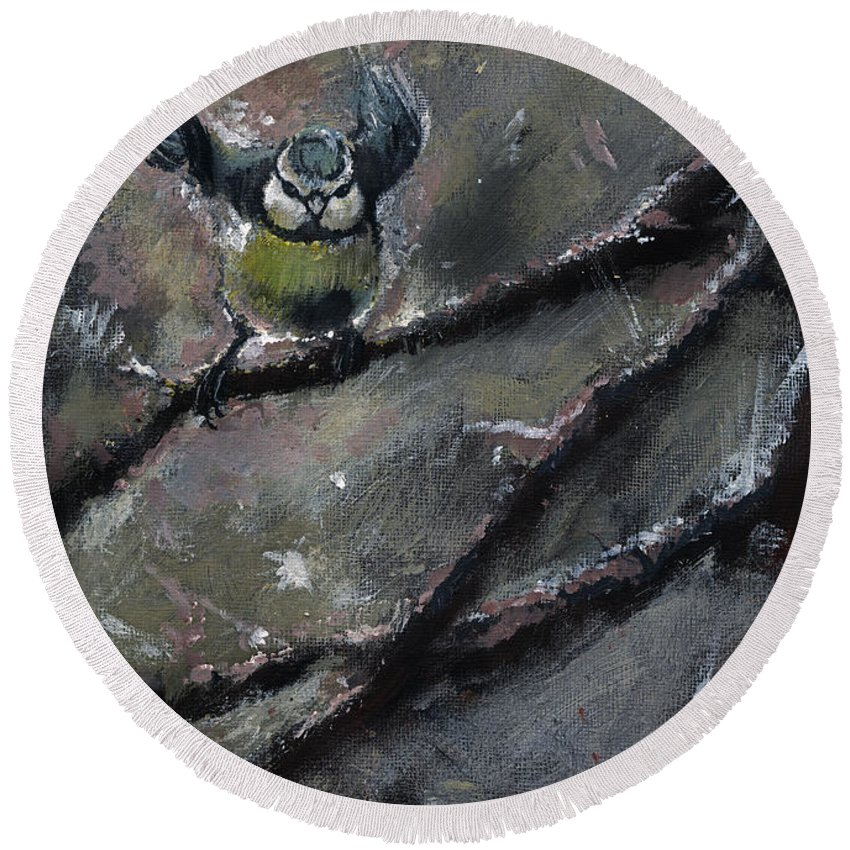 Tit Round Beach Towel featuring the painting The Winter Tales by Angel Ciesniarska