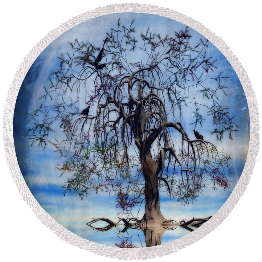 Wishing Tree Round Beach Towel featuring the painting The Wishing Tree by John Edwards