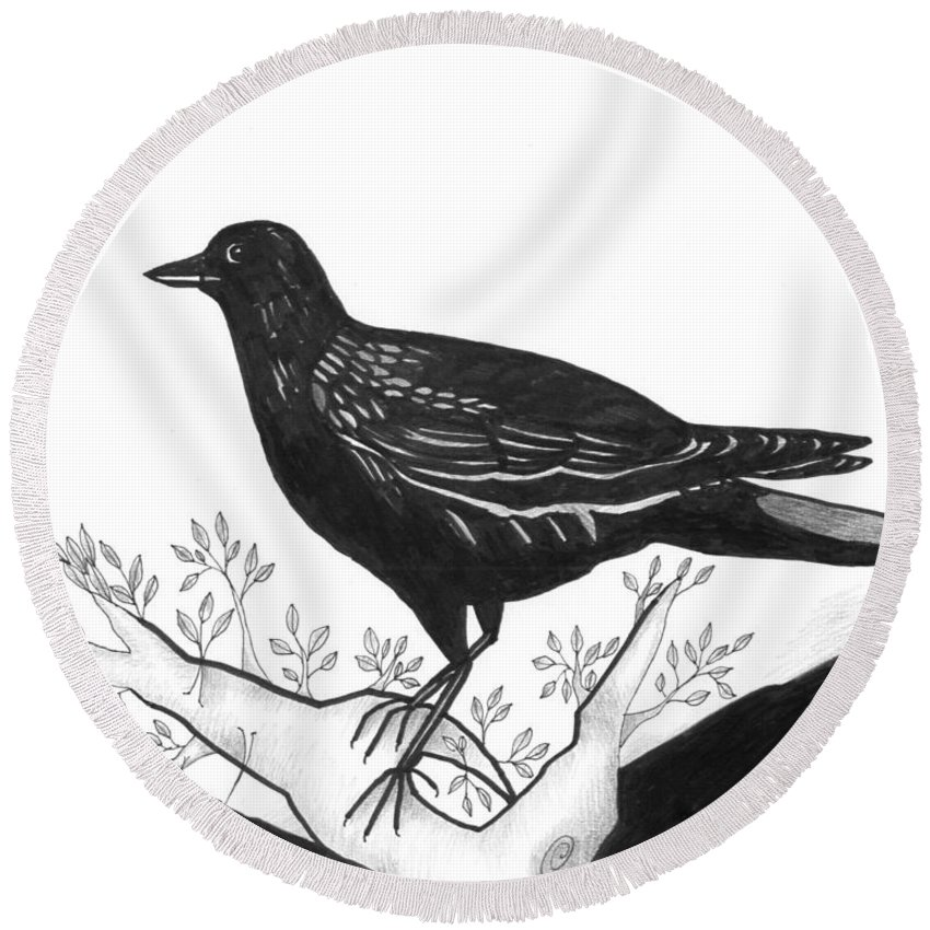 Bird Round Beach Towel featuring the drawing The Witness by Helena Tiainen