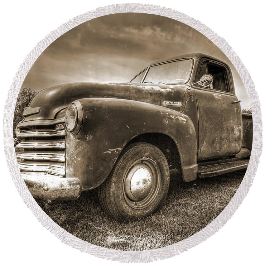 Chevrolet Truck Round Beach Towel featuring the photograph The Workhorse In Sepia - 1953 Chevy Truck by Gill Billington