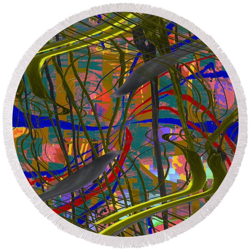 Graffiti Round Beach Towel featuring the digital art The Writing On The Wall 23 by Tim Allen