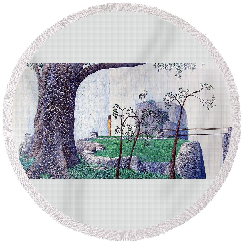 Landscape Round Beach Towel featuring the painting The Yearning Tree by A Robert Malcom