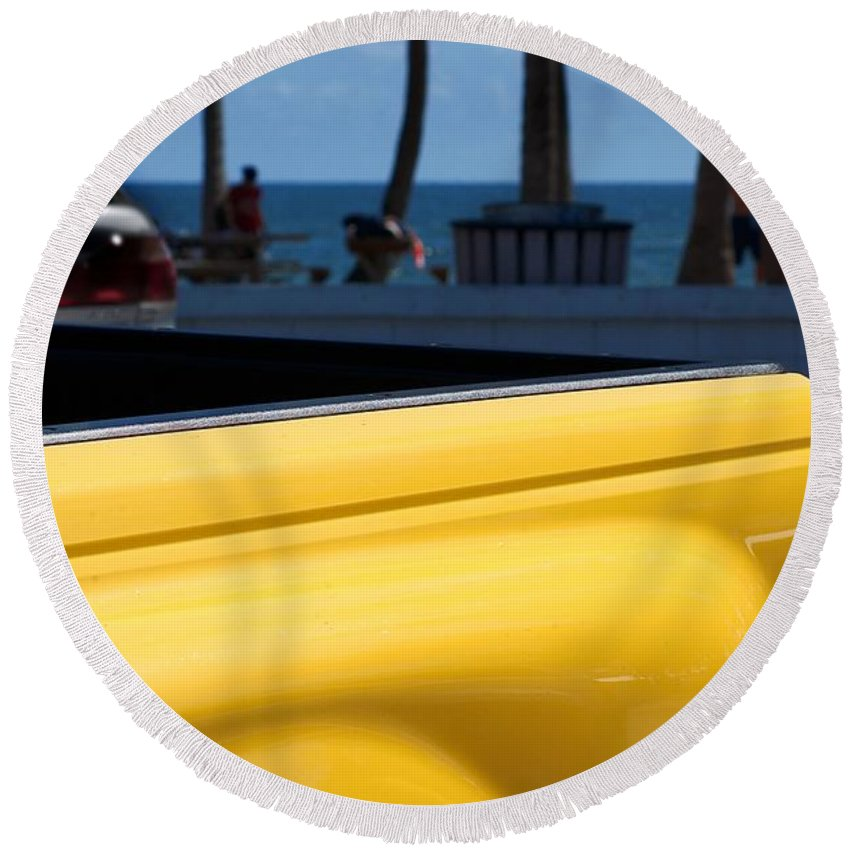Yellow Truck Round Beach Towel featuring the photograph The Yellow Truck by Bob Pardue