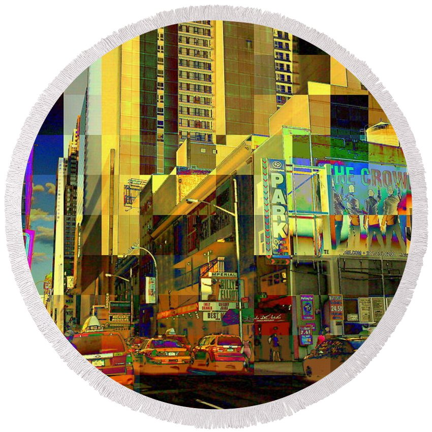 Cubist Round Beach Towel featuring the photograph Theatre District - Neighborhoods Of New York City by Miriam Danar