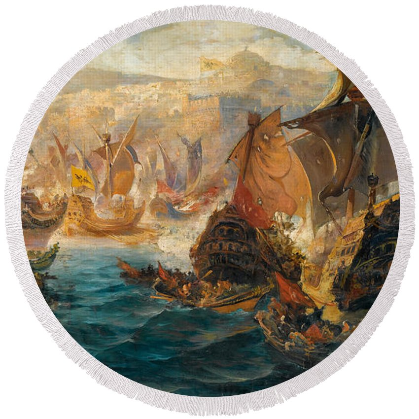 Vasilios Chatzis Round Beach Towel featuring the painting The Crusader Invasion Of Constantinople by Vasilios Chatzis