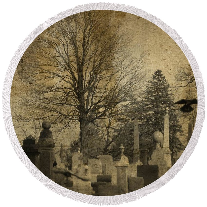 Aged Graveyard Art Round Beach Towel featuring the photograph Their Refuge by Gothicrow Images