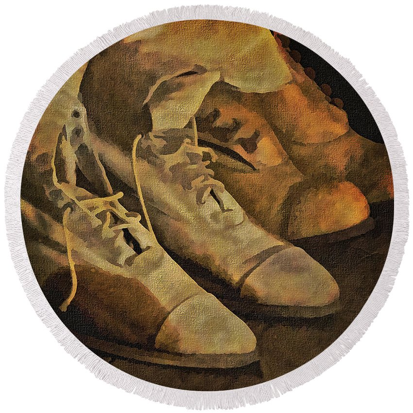 Vintage Ladies Shoes Round Beach Towel featuring the photograph These Boots Are Made For Walking by Priscilla Burgers