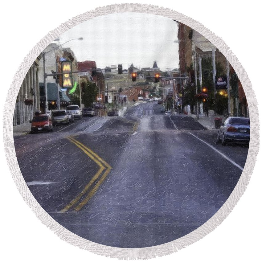 Butte Round Beach Towel featuring the photograph These Streets Are Made For Walking by Image Takers Photography LLC - Laura Morgan