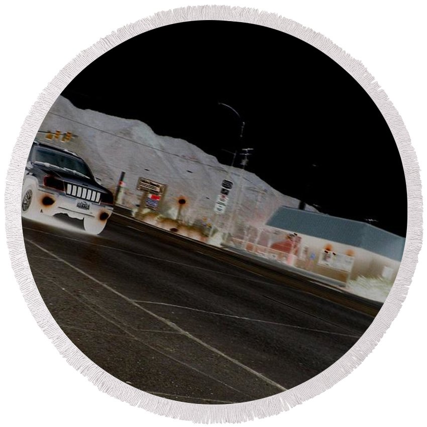 Color Photography Round Beach Towel featuring the photograph They Drive By Night by Kirk Griffith