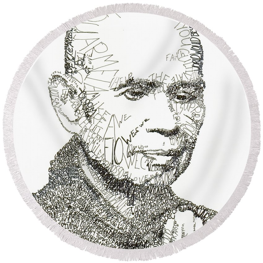 Compassion Round Beach Towel featuring the drawing Thich Nhat Hanh by Michael Volpicelli