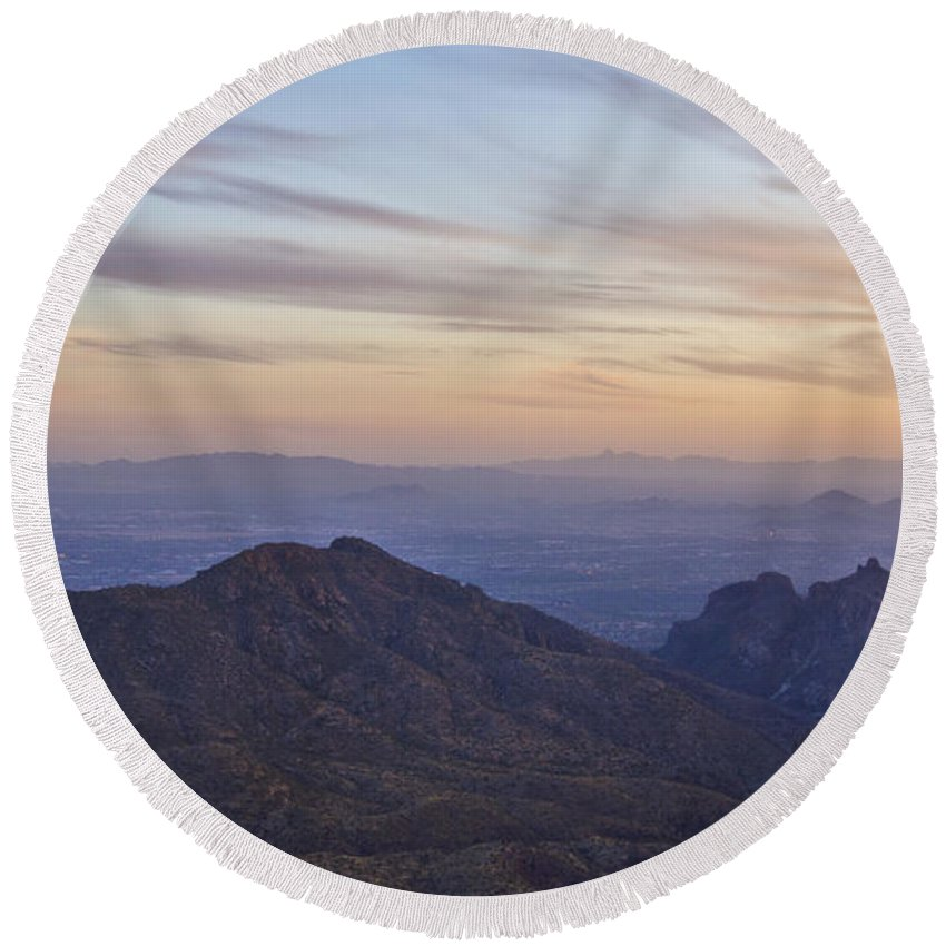 Sunset Round Beach Towel featuring the photograph Thimble Peak At Sunset by Patrick Moore
