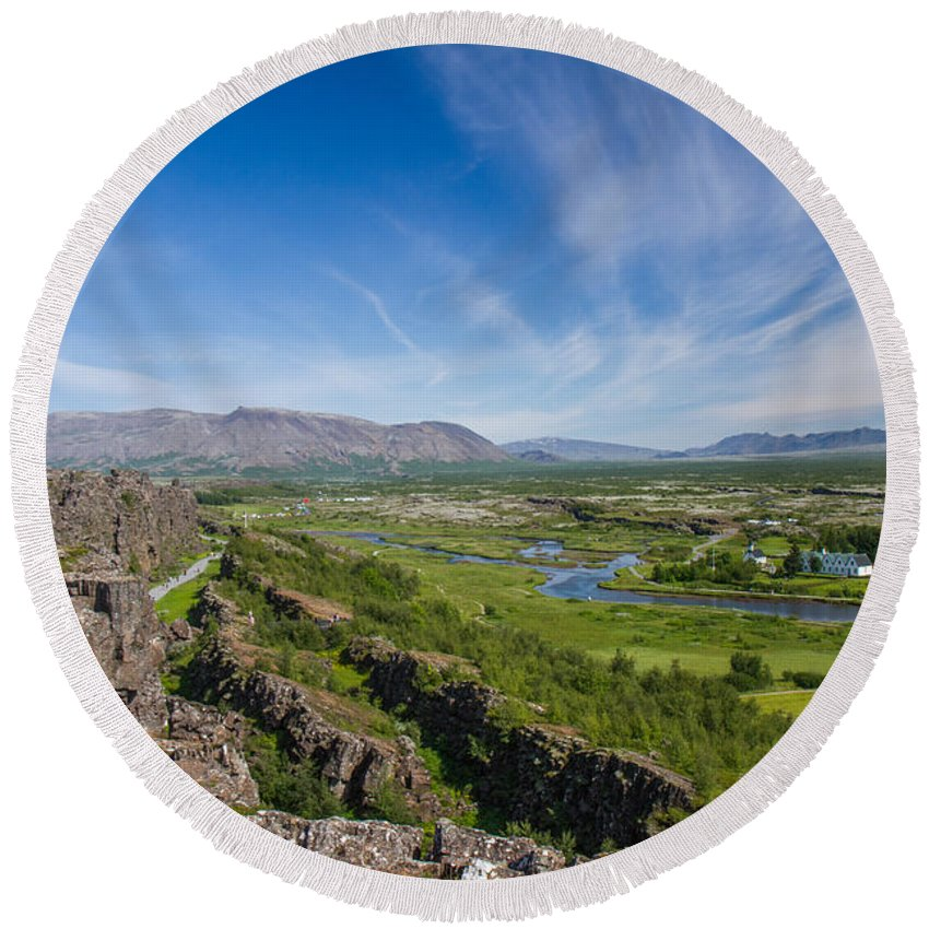 First Golden Circle Round Beach Towel featuring the photograph Thingvellir Iceland by For Ninety One Days