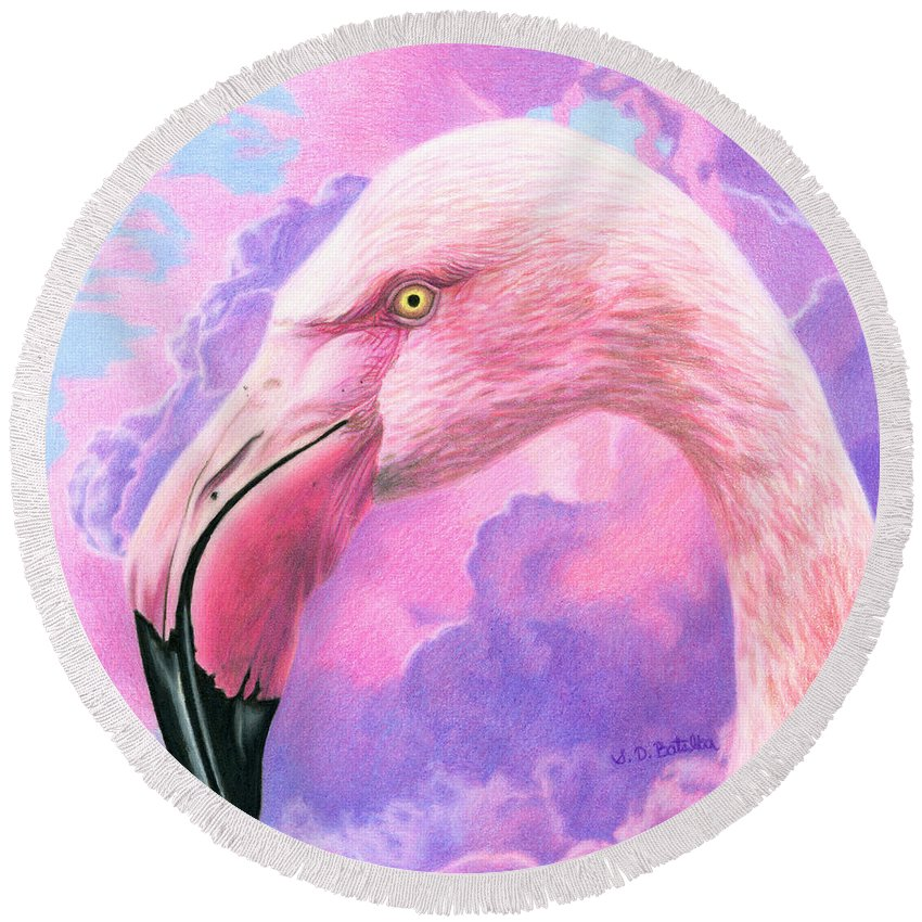 Flamingo Round Beach Towel featuring the painting Think Pink Flamingo by Sarah Batalka