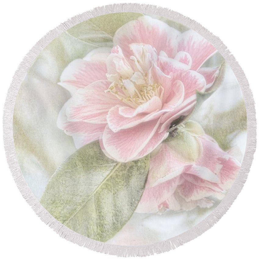 Pink Round Beach Towel featuring the photograph Think Pink by Peggy Hughes
