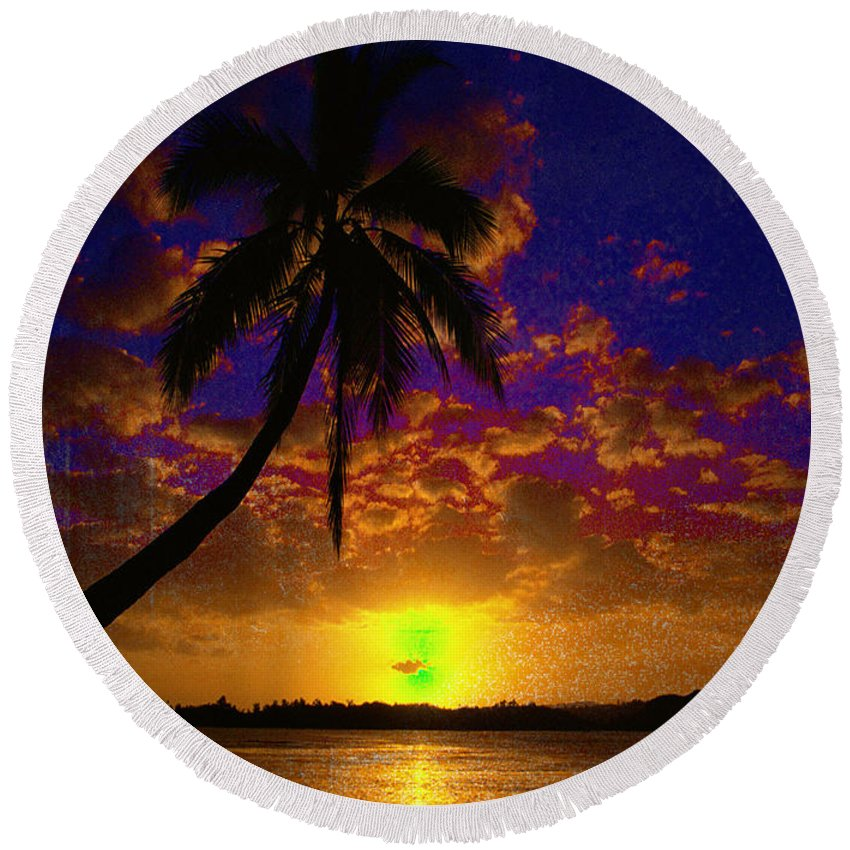 Digital Art Landscape Round Beach Towel featuring the digital art Thinking Of You by Yael VanGruber