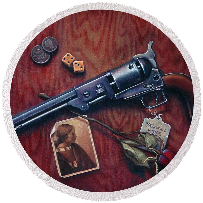 Handgun Round Beach Towel featuring the painting This Is Not A Gun by Patrick Anthony Pierson