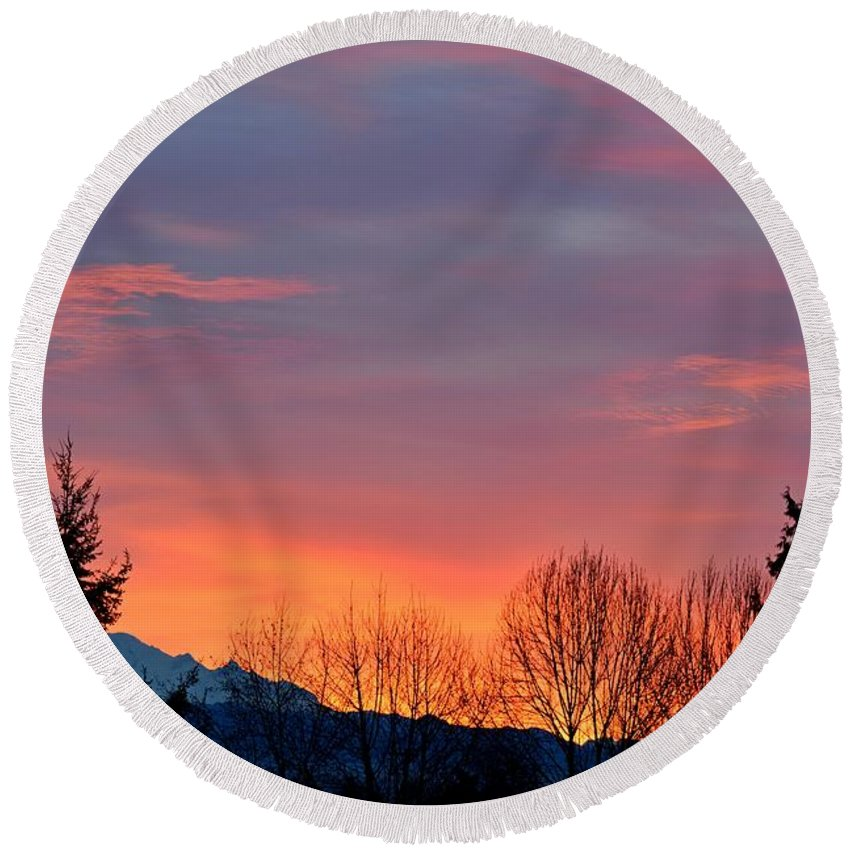 Sunrise Round Beach Towel featuring the photograph This Magic Hour by Lena Photo Art