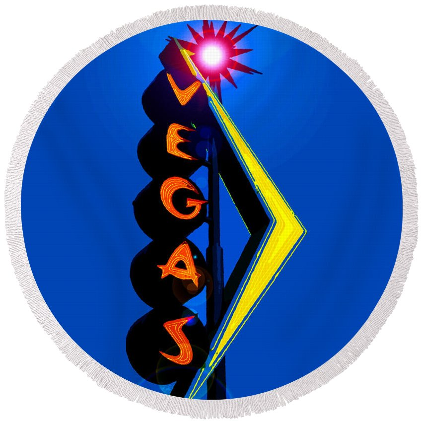 Pop Art Round Beach Towel featuring the painting This Way To Vegas by David Lee Thompson