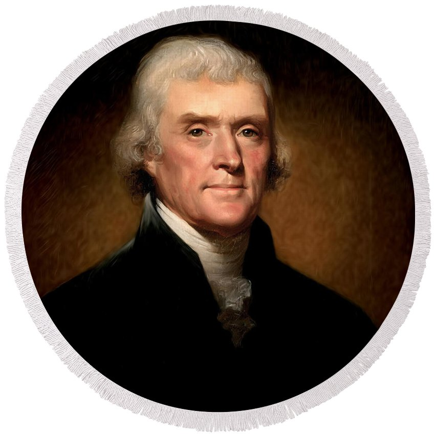 Thomas Jefferson By Rembrandt Peale Round Beach Towel featuring the photograph Thomas Jefferson By Rembrandt Peale by Bill Cannon