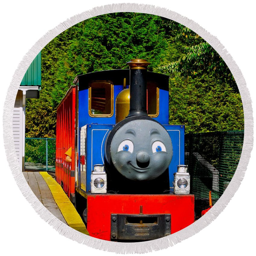 Children's Photography Round Beach Towel featuring the photograph Thomas by Sher Nasser