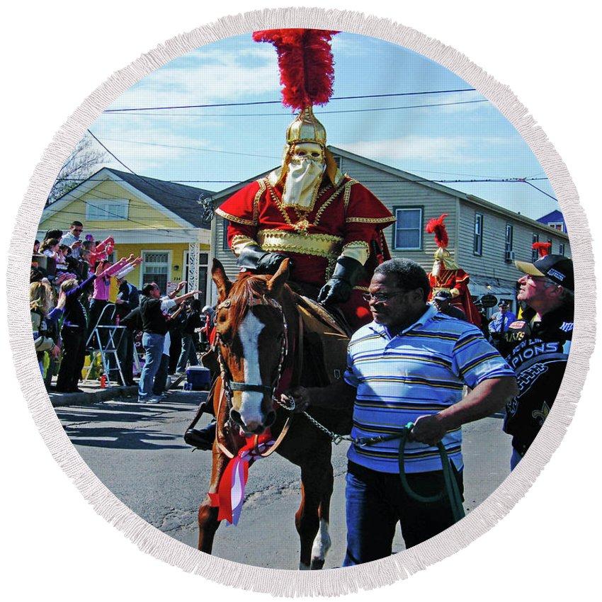 Mardis Gras Round Beach Towel featuring the photograph Thoth Parade Rider by Lizi Beard-Ward