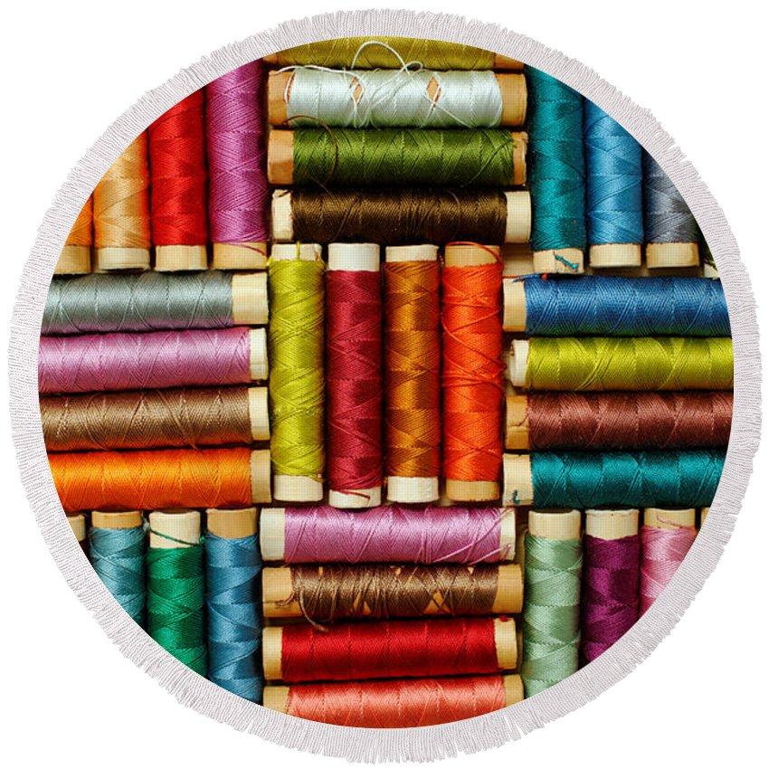 Thread Round Beach Towel featuring the photograph Thread Reels by Grigorios Moraitis