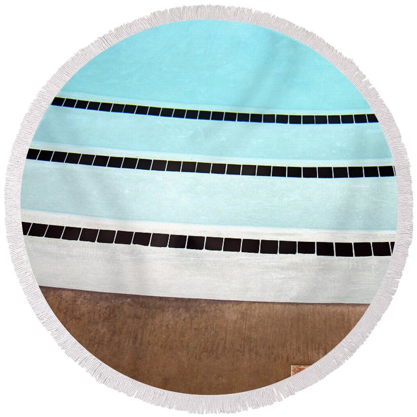 Three And A Half Round Beach Towel featuring the photograph Three And A Half Palm Springs by William Dey