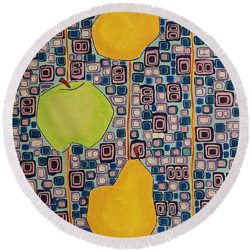 Fruit Round Beach Towel featuring the painting Three Apples Beat Two Pear by Donna Howard