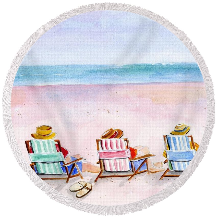 Watercolor Round Beach Towel featuring the painting Three Beach Amigos by Sheryl Heatherly Hawkins