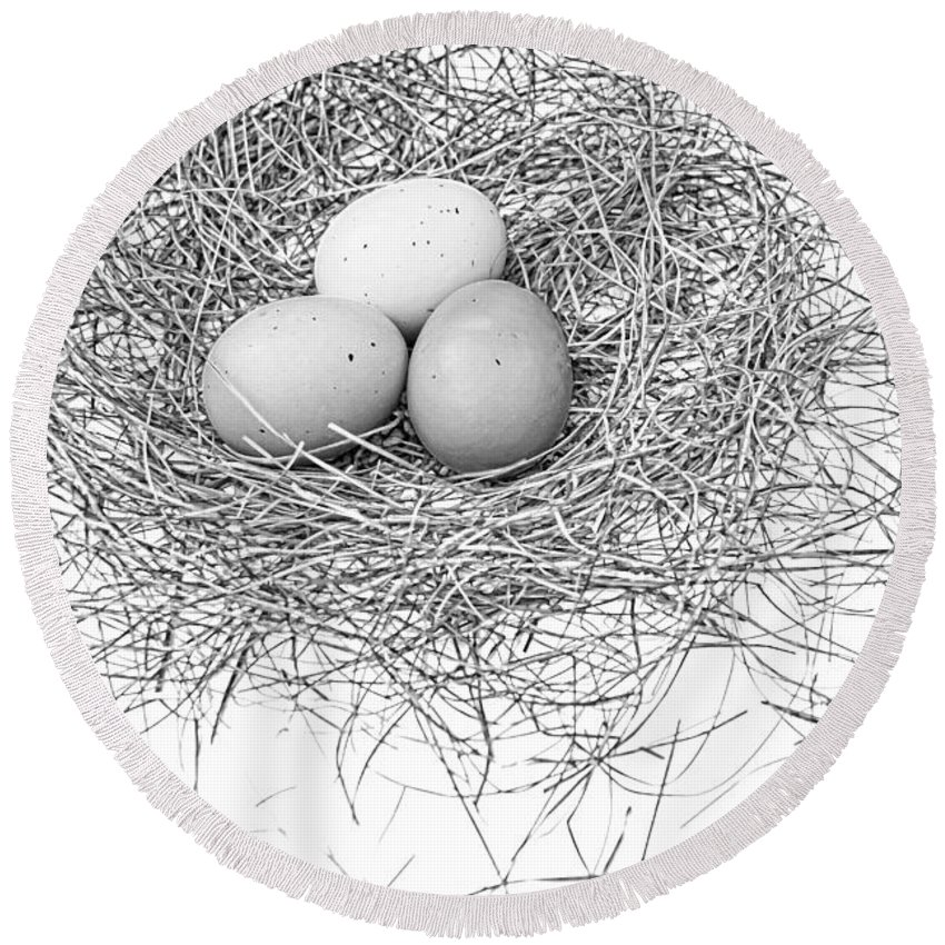 Bird Nest Round Beach Towel featuring the photograph Three Eggs In A Nest Black And White by Jennie Marie Schell