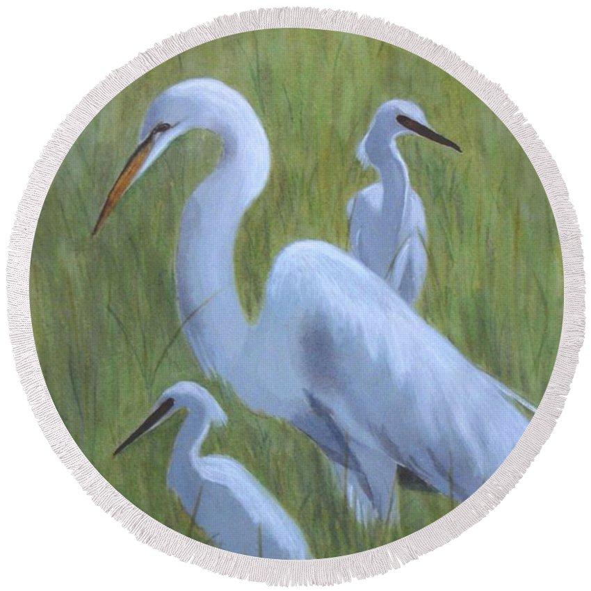 Waterfowl Round Beach Towel featuring the painting Three Egrets by Jill Ciccone Pike