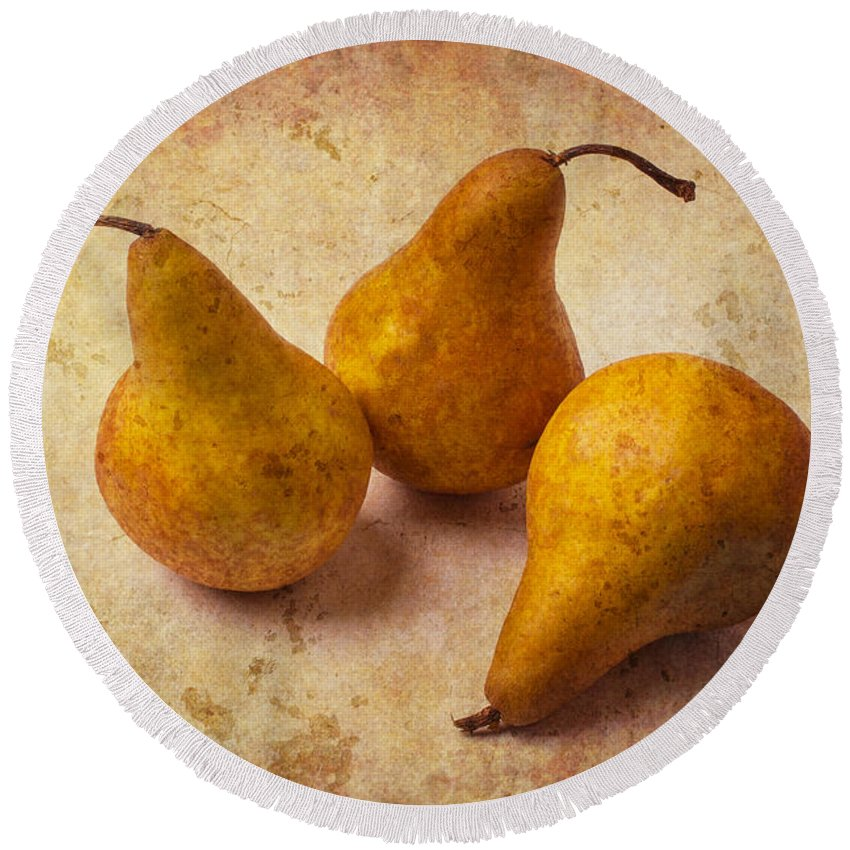 Three Round Beach Towel featuring the photograph Three Golden Pears by Garry Gay