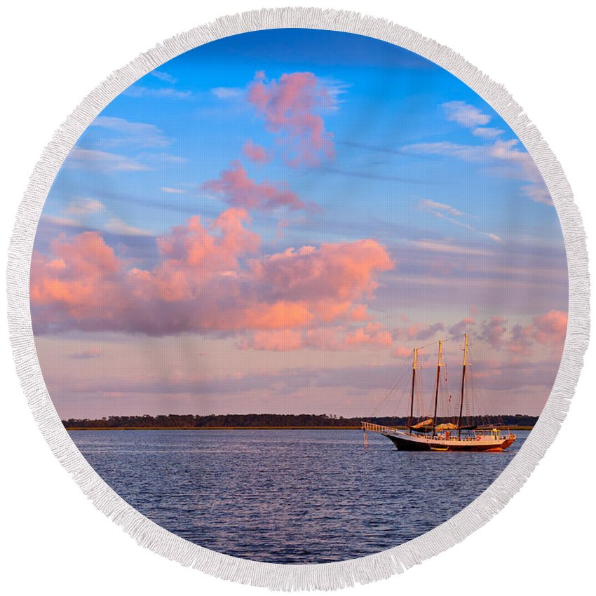 Three Round Beach Towel featuring the photograph Three Masted Schooner At Anchor In The St Marys River by Louise Heusinkveld