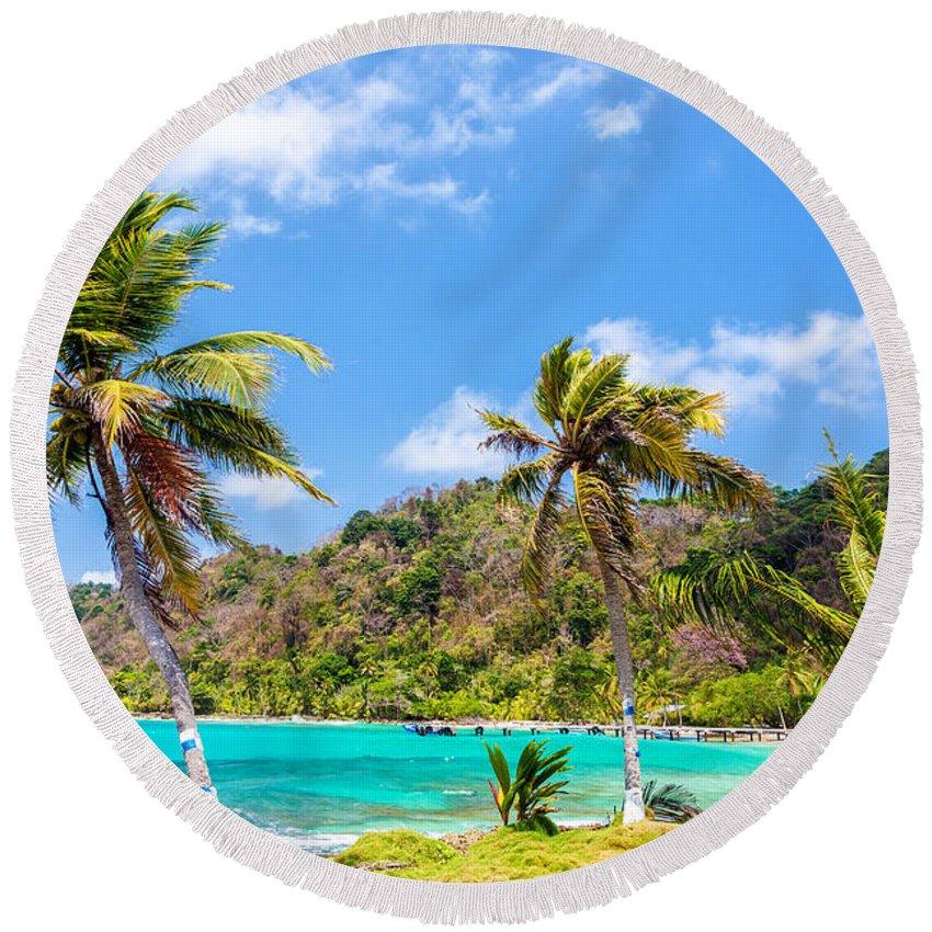 Capurgana Round Beach Towel featuring the photograph Three Palm Trees In Panama by Jess Kraft