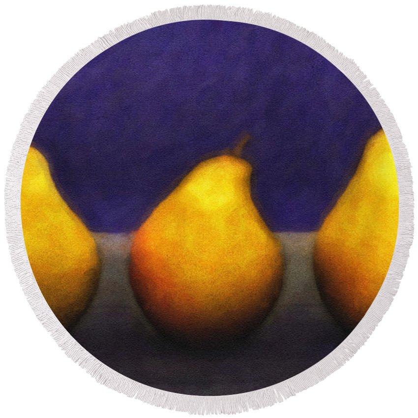 3d Round Beach Towel featuring the digital art Three Pears by Jutta Maria Pusl