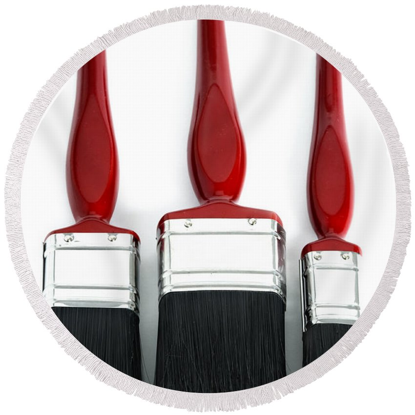 Paint Round Beach Towel featuring the photograph Three Red Paint Brushes by Lee Avison