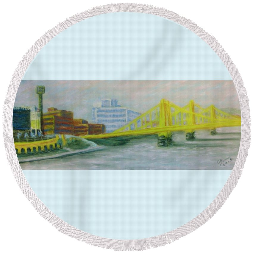 Pastel Round Beach Towel featuring the pastel Three Sisters At Pnc Park by Joann Renner