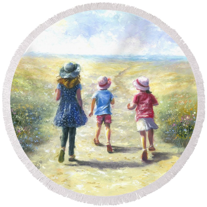 Three Sisters Round Beach Towel featuring the painting Three Sisters Beach Path by Vickie Wade