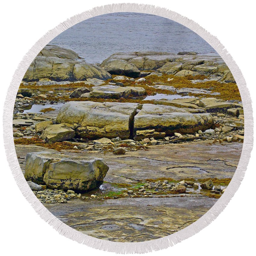 Thrombolites In Flowers Cove Round Beach Towel featuring the photograph Thrombolites Up Close In Flower's Cove-nl by Ruth Hager