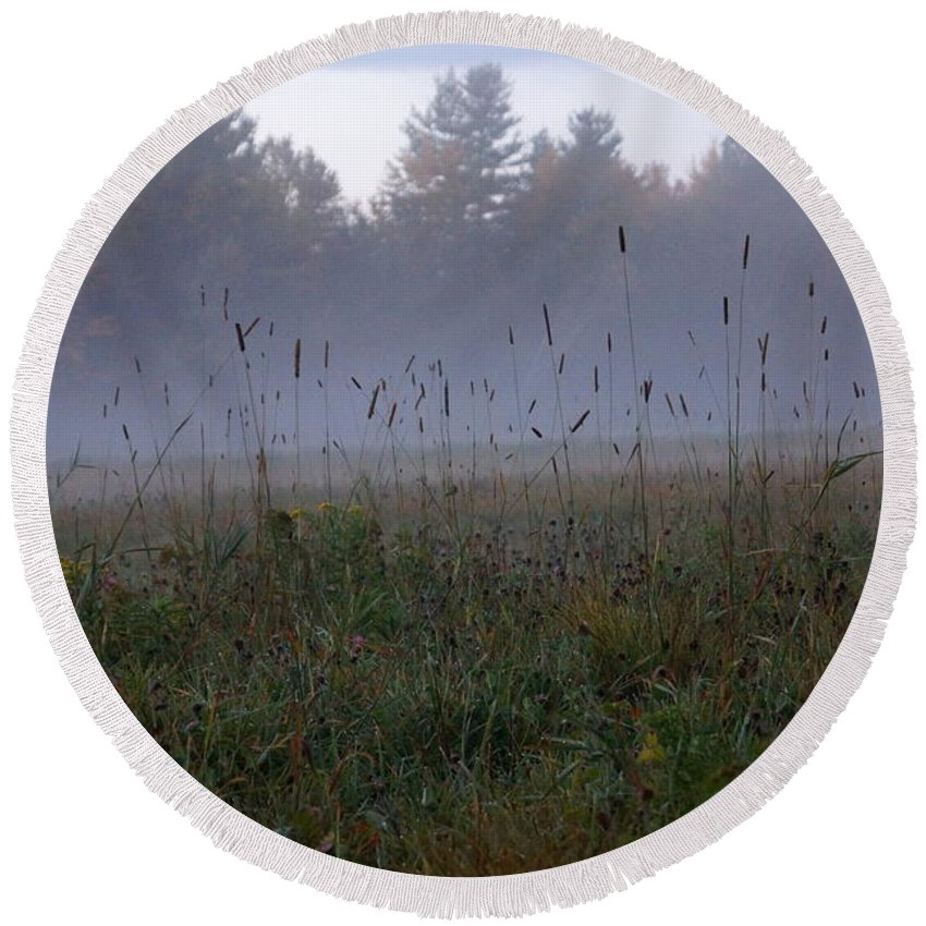 Newhampshire Round Beach Towel featuring the photograph Through The Field Grass by Kerri Mortenson