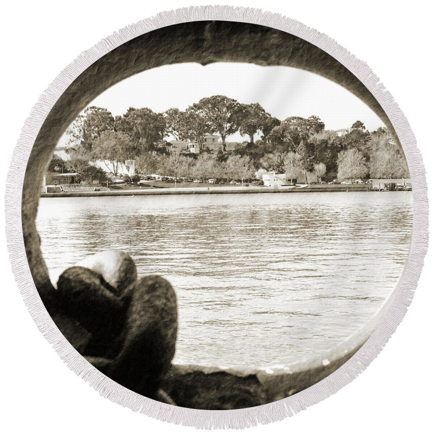 Hole Round Beach Towel featuring the photograph Through The Porthole by Holly Blunkall