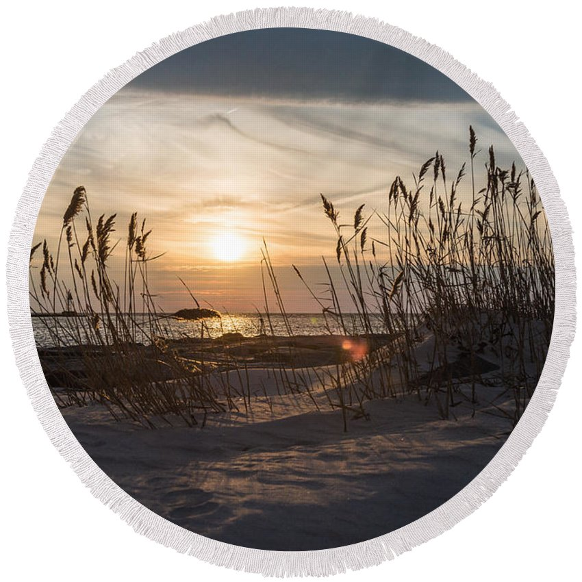 New Jersey Round Beach Towel featuring the photograph Through The Reeds by Kristopher Schoenleber